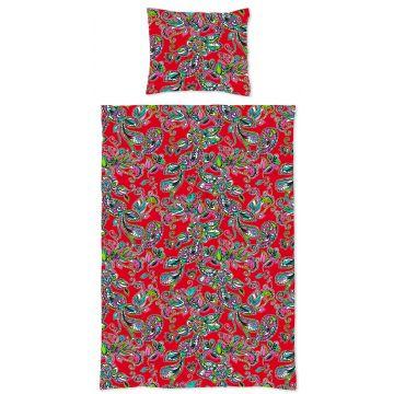 Enkelt dynebeskyttelsessett funky blomster og paisleys rødt