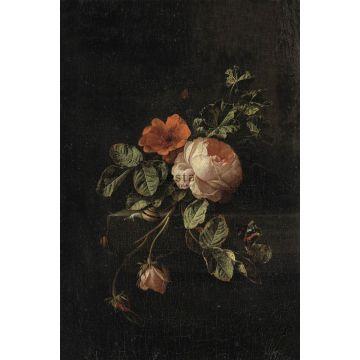 fototapet stilleben med blomster mørkerødt og sort