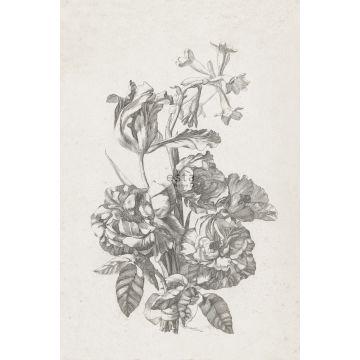 fototapet stilleben med blomster sort og hvidt
