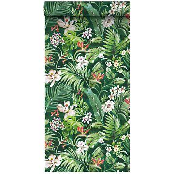 tapet XXL tropiske blade og blomster smaragdgrønt