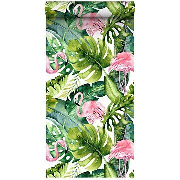 tapet XXL tropiske blade med flamingoer grønt og lyserødt