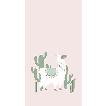 fototapet alpaka skinnende lyserødt og grønt