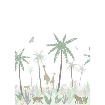 fototapet jungledyr grønt, gråt og brunt