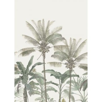fototapet palmetræer lysebeige og gråligtgrønt