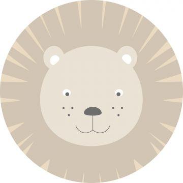selvklæbende fototapet rundt dyrehoveder beige