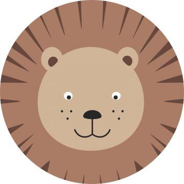 selvklæbende fototapet rundt dyrehoveder brunt og beige