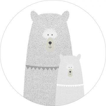 selvklæbende fototapet rundt bjørne mor med unge lysegråt