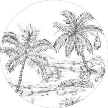 selvklæbende fototapet rundt pennetegnet safari sort og hvidt