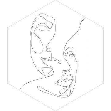 wallsticker ansigter sort og hvidt