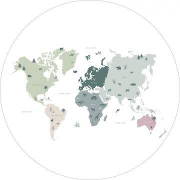 selvklæbende fototapet rundt verdenskort for børn mintgrønt, gråt og lyserødt