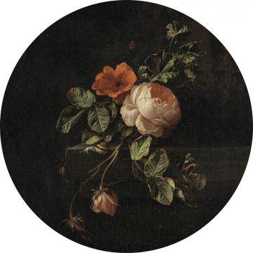 selvklæbende fototapet rundt stilleben med blomster sort og grønt