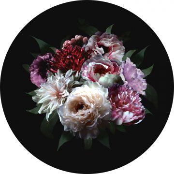 selvklæbende fototapet rundt stilleben med blomster mangefarvet på sort
