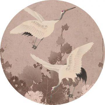 selvklæbende fototapet rundt kranfugle grårosa