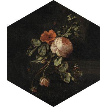 wallsticker stilleben med blomster sort, grønt og lyserødt