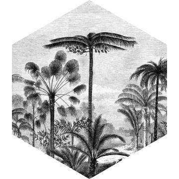 wallsticker tropisk landskab med palmetræer sort og hvidt