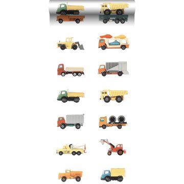 tapet XXL lastbiler og traktorer gul, orange og blåt