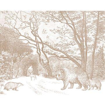 fototapet skov med skovdyr terracotta rød