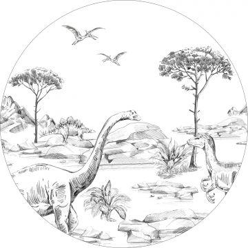 selvklæbende fototapet rundt dinosaurusser sort og hvidt