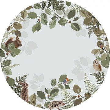 selvklæbende fototapet rundt skovdyr grønt og brunt