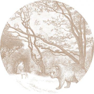 selvklæbende fototapet rundt skov med skovdyr hjortefarvet