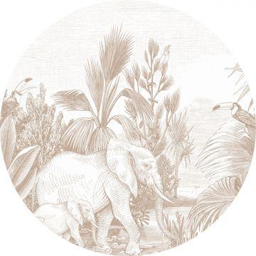 selvklæbende fototapet rundt jungle hjortefarvet