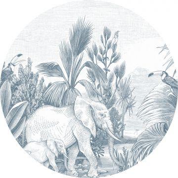 selvklæbende fototapet rundt jungle blåt