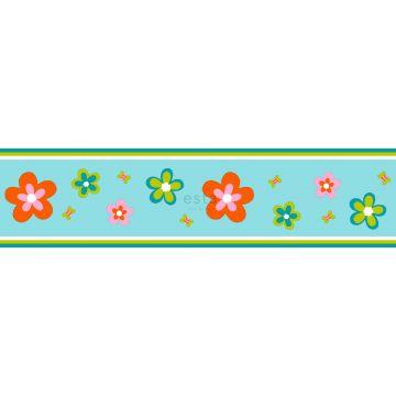 tapetbort blomster turkis og orange