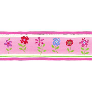 tapetbort blomster lyserødt