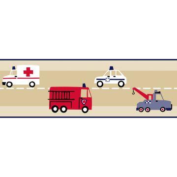 tapetbort brandbil og politibil beige, rødt og blåt