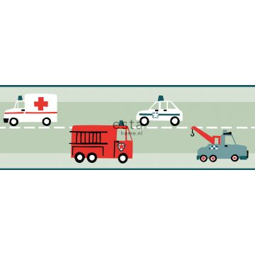tapetbort biler, brandbiler, helikoptere og kraner mintgrønt