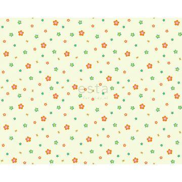 stoff blomster limegrønt